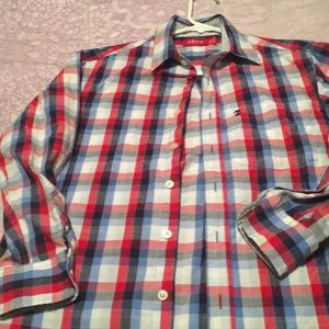 Red white blue plaid long sleeves Izod dress shirt
